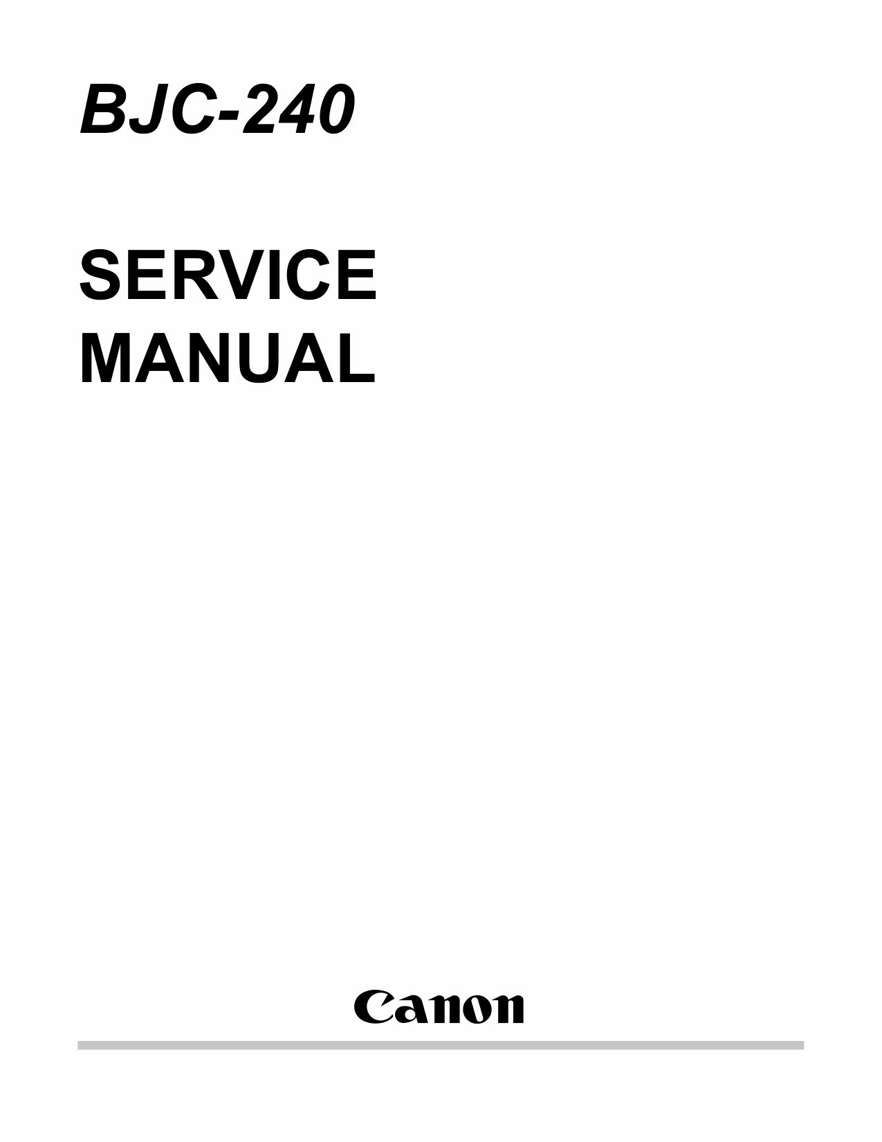 Canon BubbleJet BJC-240 Service Manual-1